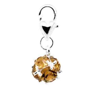 Amber Topaz November Birthstone Clip On Silver Plated Charm smaller image