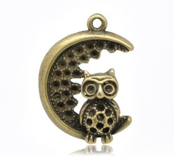 BRONZE OWL IN THE MOON CHARM