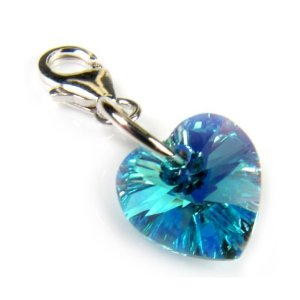 Blue Swarovski Crystal Heart Clip On Charm