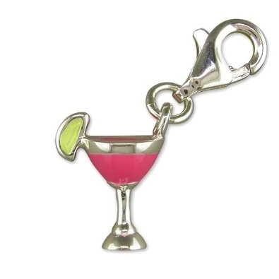 Cocktail Glass Silver Clip On Charm