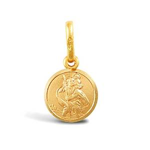 Double Sided Christopher Medallion Silver Charm