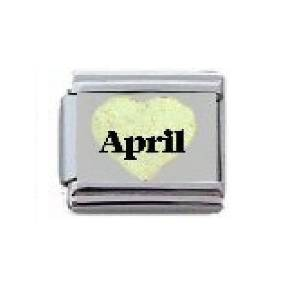 Italian Gold Heart With April Birthstones Charm