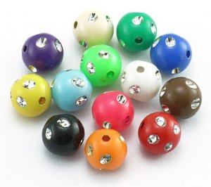 MIXED COLOURS METAL ENLACED ROUND ACRYLIC Bead Set
