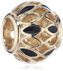 Pandora 14K Yellow Gold Royal Victorian Black Enamel Charm