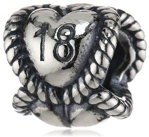 Pandora 18th Birthday Milestone Heart Charm