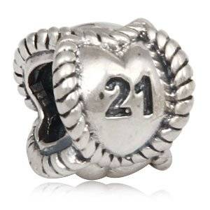 Pandora 21 Heart Dangle Sterling Silver Charm