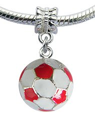 Pandora 3D Red White Enamel Football Charm