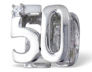 Pandora 50th Birthday Double Sided Clear Stones Charm