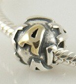 Pandora A Initial Letter Gold Plated Charm