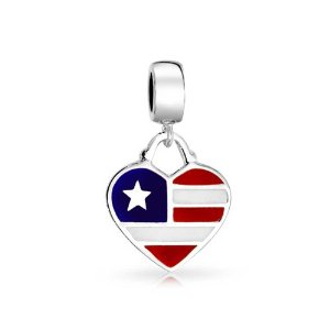 Pandora American Flag Heart Dangle Charm