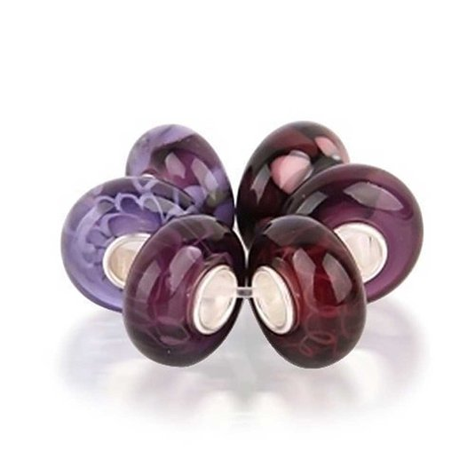 Pandora Amethyst Violet Purple Flower Glass Charm