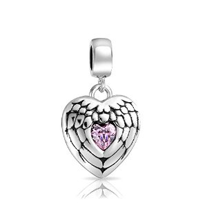 Pandora Angel Wing Heart Message Pink Dangle Charm