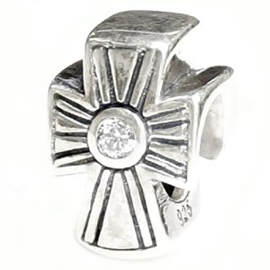 Pandora Antique Holy Cross Clear CZ Crystal Charm
