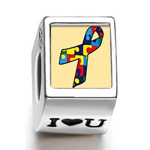 Pandora Autism Ribbon Photo Charm