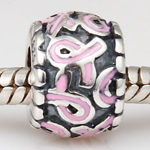 Pandora Awareness Ribbon Spacer Pink Enamel Charm image