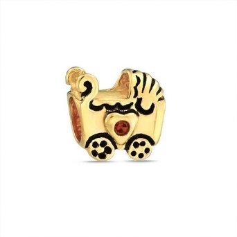 Pandora Baby Carriage Gold Plated CZ Charm