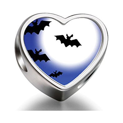 Pandora Bats And A Full Moon Heart Photo Charm