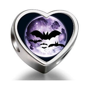 Pandora Bats Fly Over Moon Heart Photo Charm