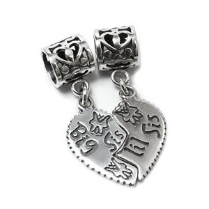 Pandora Big Lil Little Sis Sister Love Heart Pendant Dangle Charm