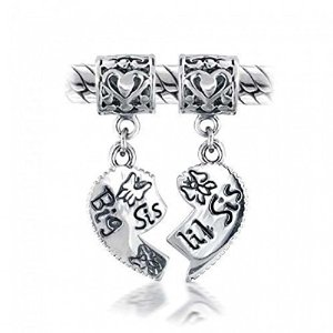 Pandora Big Sis Little Sis Heart Dangle Charm