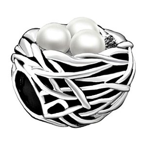 Pandora Bird Nest Bwith White Eggs Charm smaller image