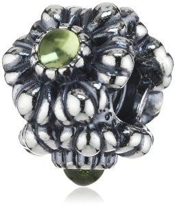 Pandora Birthday Blooms August, Peridot Charm