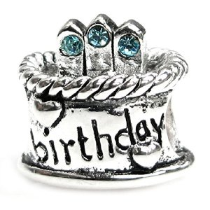 Pandora Birthday Cake With Aquamarine Blue CZ Charm image