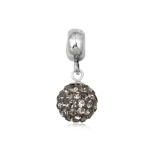 Pandora Black And Silver Glitter Ball Charm