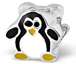 Pandora Black And White Penguin 3D Charm