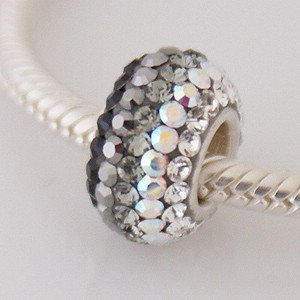 Pandora Black Grey White Swarovski Crystas Charm
