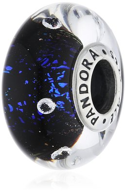 Pandora Blue And Black Glass Charm