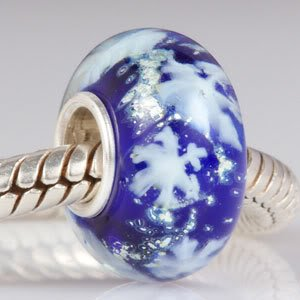 Pandora Blue Glass Snowflakes Sterling Silver Core Charm