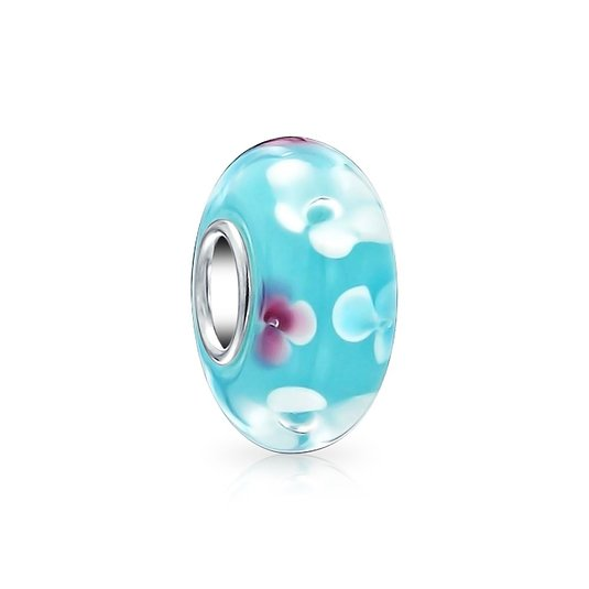 Pandora Blue Glass White Flowers Glass Charm