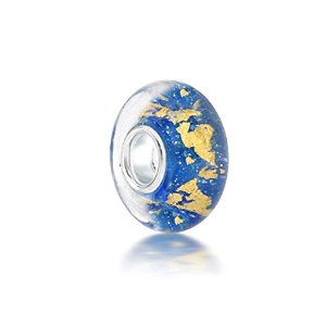 Pandora Blue Gold Foil Murano Glass Charm