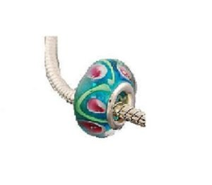 Pandora Blue Green And Pink Glass Charm