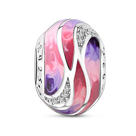 Pandora Blue Pink Purple Wave Stripe Glass Charm