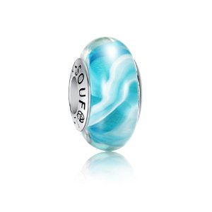 Pandora Blue Stripe Wave Photo Charm