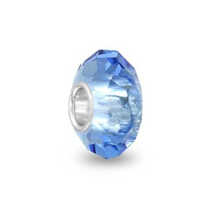 Pandora Blue Topaz Color Faceted Crystal Glass Charm