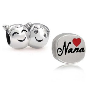 Pandora Brother Sister Face Nana Heart Charm smaller image