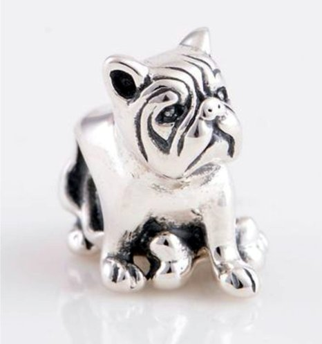 Pandora Bull Terrier Dog May Birthstone Photo Flower Charm smaller image
