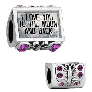Pandora Butterfly I Love You To The Moon And Back Photo Amethyst Charm