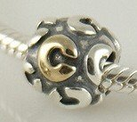 Pandora C Initial Letter Gold Plated Charm