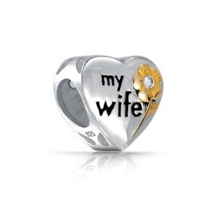 Pandora CZ Flower Two Tone My Wife Heart Charm