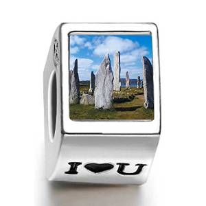 Pandora Callanish Standing Stones Photo Flower Charm