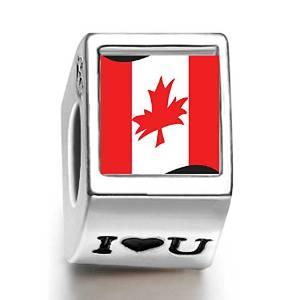 Pandora Canada Flag Photo White Crystal Stone Flower Charm