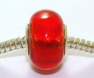 Pandora Cherry Red Shimmer Foil Glass Charm image
