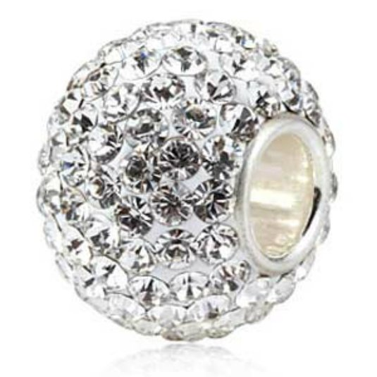 Pandora Clear Crystals Ball Flower Garden Dangle Charm