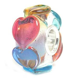 Pandora Colored Connected HEARTS On CLEAR GLASS Charm