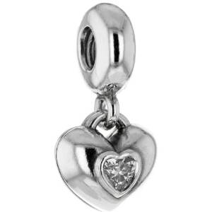 Pandora Colourless And Pink Cubic Zirconia Heart Charm