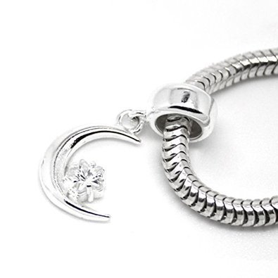 Pandora Crescent Moon Star Dangle Charm image